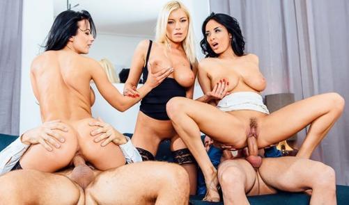Секс с тремя грудастыми красотками порно 365